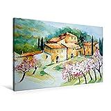 Premium Textil-Leinwand 90 cm x 60 cm quer, Mandelblüte in Orient | Wandbild, Bild auf Keilrahmen, Fertigbild auf echter Leinwand, Leinwanddruck: Mallorca kleiner romantischer Ort (CALVENDO Natur)
