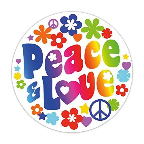 ce & Love I Ø 10 cm I Flower-Power Blumen Hippie Motiv I für Laptop Koffer Tür Roller Bulli Auto-Aufkleber I wetterfest I kfz_260 ()