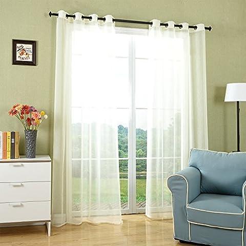 2x Rideaux Voilages Translucides à Oeillets pour Fenêtre Salon, 135x240cm(Beige), Fresquita