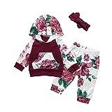 Beikoard Baby Langarm Blumendruck-Pullover-Set Neugeborenes Baby Mädchen Kleidung Mantel Floral Hosen Leggings Outfits Set (6M-24M (Wein, 90)