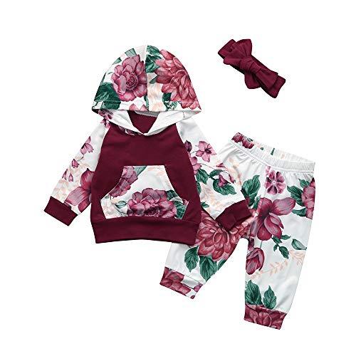 Beikoard Baby Langarm Blumendruck-Pullover-Set Neugeborenes Baby Mädchen Kleidung Mantel Floral Hosen Leggings Outfits Set (6M-24M (Wein, 80)