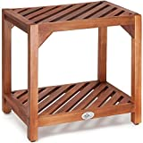 Low Garden Side Table Wooden Coffee Bistro Patio Acacia Wood Outdoor Furniture Tea Table – Diagonal Slatted Top