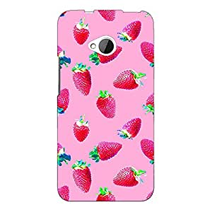 Jugaaduu Strawberry Pattern Back Cover Case For HTC One M7