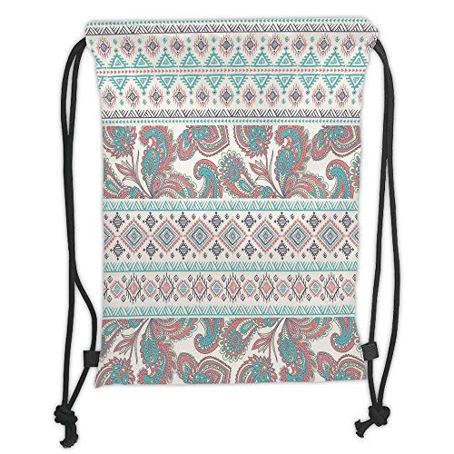OQUYCZ Drawstring Sack Backpacks Bags,Tribal,Paisley Patterns in Native Aztec in Mixed Pattern Floral Ethnic Design Decorative,Cream Aqua and Coral Soft Satin,5 Liter Capacity,Adjustable Strin Womens Mixed Metal