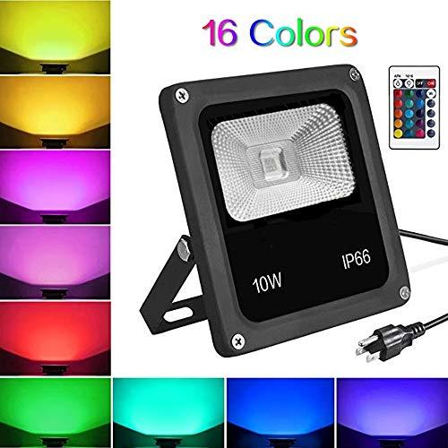AUNLPB 10W RGB LED Hochwasserlicht, 1100 Lumen Farbwechsel Wasserdichte LED-Sicherheitslicht mit Plug und Fernbedienung für Baum, See, Garten, Scenic Spots, Dekorationsleuchten