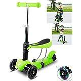Kids Mini Kick Scooter 3 Wheel T-Bar Push Kickboard With Colorful LED Light Up Wheels & Seat