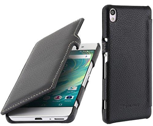 StilGut Book Type Case mit Clip, Hülle aus Leder für Sony Xperia XA, Schwarz Schwarz - mit Clip