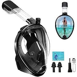 Masque de Plongée - Masque de Snorkeling Surface pour Vision Panoramique à 180 ° , Anti-buée Double Canaux d'Alimentation d'Air Support de Caméra/Gopro aux Plongée Bouteille Chasse Sous-marine Apnée
