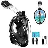 Masques de Plongée - Masques de Snorkeling Intégral pour Vision Panoramique à 180 °, Dual Tuba Anti-buée Anti-fuite Support de Caméra/Gopro aux Sports Plongée Bouteille Chasse Sous-marine Apnée