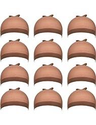 12 Pack Nylon Cap de Perruque pour Femmes Et Hommes (Marron Clair)