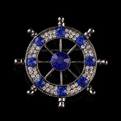 TIANLU Das moderne Leben aus Goldlegierung Diamant Brosche verziert Schiffs Steuerrad Legierung legen Sie bohren und Pistole Schwarz und Blau.