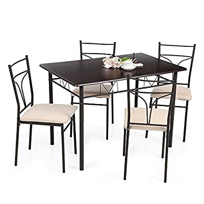 5PCS Modern Metal Frame Dining Kitchen Table Chairs Set for 4 Person Kitchen Furniture 120kg Load Capacity