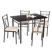 IKAYAA Rectangular Dining Table and 4 Chairs Kitchen Dining Room Set Modern 4 Piece Set with Padded Seat & MDF & Metal Frame