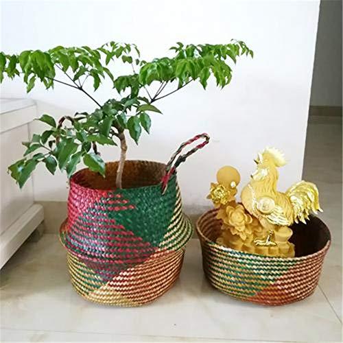 Surenhap Seagrass Cesta de cesteria de Mimbre Canasta de lavandería Canasta de Mimbre Plegable Canasta para Almacenamiento de Estilo nórdico Belly Basket - Colores,L