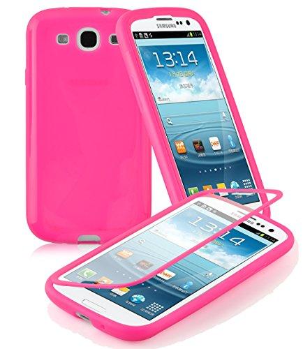 Preisvergleich Produktbild Cadorabo - TPU Silikon Schutzhülle (Full Body Rund-um-Schutz auch für Das Display) für > Samsung Galaxy S3 / S3 NEO < - (I9300) in HOT-PINK
