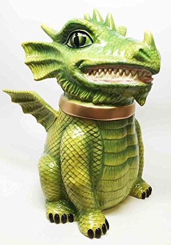 FIERCE PET DRAGON CERAMIC COOKIE JAR WORLD CUTEST KITCHEN ACCESSORY TOP LID by Gifts & Decor