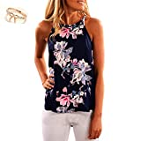 Jimmkey Women Sleeveless Flower Printed Tank Top Casual Blouse Vest T Shirt