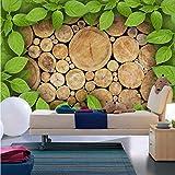 Kuamai Personnalisé Photo Papier Peint 3D En Bois Vert Feuilles Personnalité Toile De Fond 3D Murale Murale Salon Restaurant Home Decor Papier Peint-200X140cm