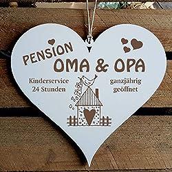 SCHILD Herz PENSION OMA & OPA - ganzjährig geöffnet ca. 13 x 12 cm - mit VOGELHAUS Motiv