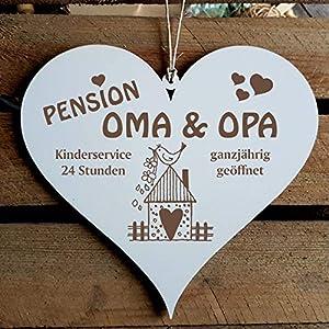 SCHILD Herz PENSION OMA & OPA – ganzjährig geöffnet ca. 13 x 12 cm – mit VOGELHAUS Motiv