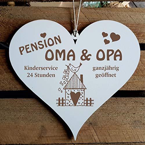 Schild Herz « PENSION OMA & OPA - ganzjährig geöffnet » ca. 13 x 12 cm - mit Motiv VOGELHAUS - Türschild Dekoschild Geschenk Großeltern - Enkel Enkelkinder