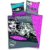 Monster High - juego de funda de edredón y funda de amohada con las protagonistas - ropa de cama en dos piezas, con dos estampados reversibles, de la marca Herding, funda de edredón: 135 x 200 cm, algodón puro