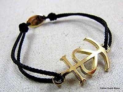"""Bracelet cordon tréssé """"Croix de camargue"""" dorée à l'or fin"""
