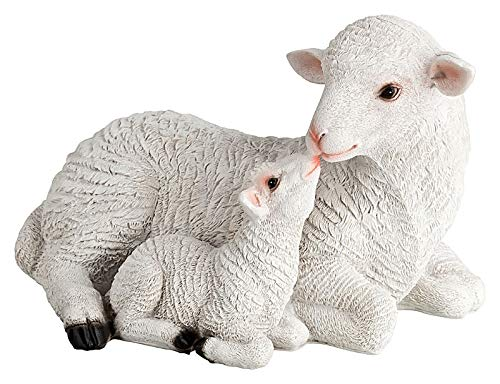 incubated 1PLUS - Decorative Figure for garden (Artificial Stone), design of Sheep with Lamb