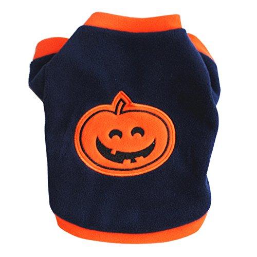 beiguoxia Let 's Party Fashion Hund Welpen Kleidung Halloween Kürbis Short Sleeve T-Shirt Apparel–Navy Blau L, Samt, Marineblau, XS