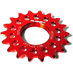 Piñon Fijo para Bicicleta Fixie Single Speed Ruder Berna 16T Aluminio Color Rojo Mecanizado CNC 3611