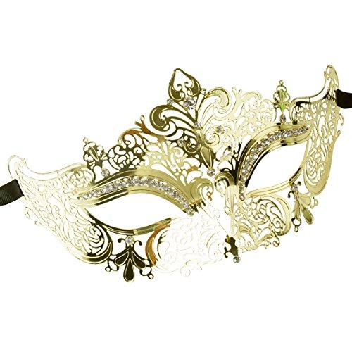 Coxeer Damen Maskerade Maske Laser Schneiden Metall Karneval Maske (Gold 1 )
