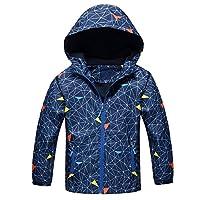 BellaPunk Boys Raincoat Fleece Lined Jacket Hood Wind Breaker Coat Lightweight Age 3 4 5 6 7 8 9 10 11 (3-4 Years(Small), Blue 2)