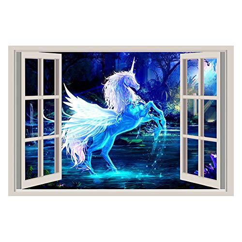 Cosanter Einer zum Verkauf Weißen Pferds des Einhorns Blaues Hintergrundfenster des Vorzüglicher Aufkleber der Wand 3D