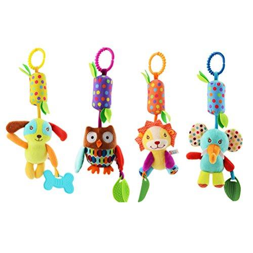 TOYMYTOY 4 stück Baby Plüschtiere Spielzeug Zum Aufhängen Babyschale Autositz Kinderbett Rasseln