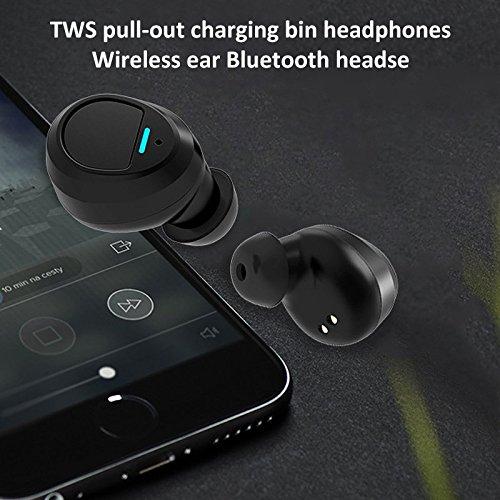 Mini-Kopfhörer mit 600mAh Lade Box Power Bank unsichtbar kabellos Bluetooth-Shirt-tuft Bass HiFi Headset für iPhone, Samsung, Android Phone, Smartphones und Tablets_Unripe