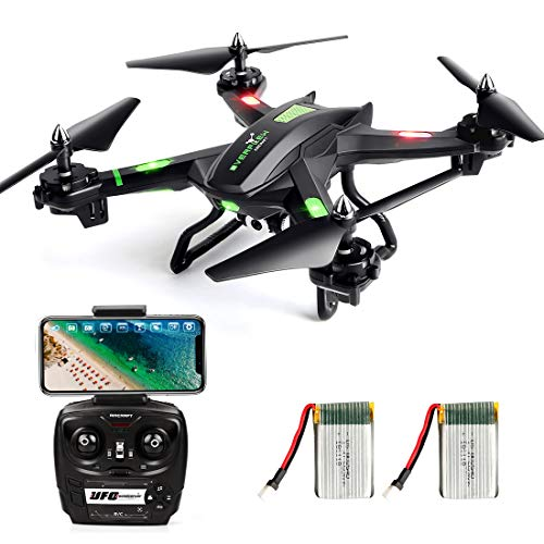 LBLA FPV Drone con WiFi Camera Live Video Headless Mode 2.4 GHz 4 CH 6 Axis Gyro RC Quadcopter, Compatibile con Due Batterie