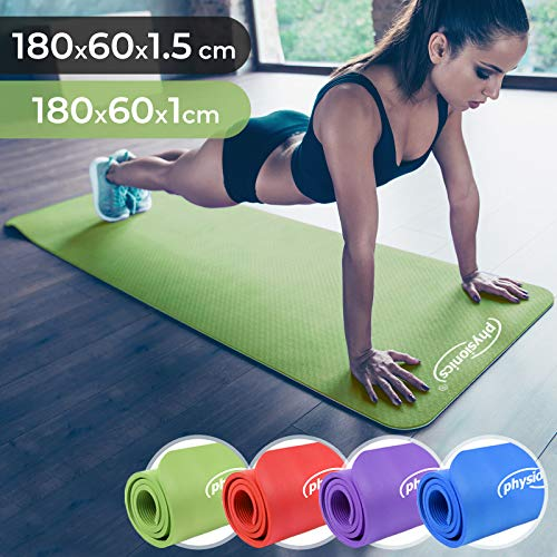 Physionics Yogamatte - 180 x 60 cm, 1.0/1.5 cm dick, rutschfest, inkl. Tragegurt, Farbwahl - Gymnastikmatte, Fitnessmatte, Trainingsmatte für Yoga, Pilates, Gymnastik (Grün, 180x60x1cm)