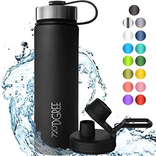 """720°DGREE Edelstahl Trinkflasche \""""noLimit\"""" - 710ml - Auslaufsicher, Kohlensäure geeignet, BPA-Frei - Isolierflasche mit Schraubverschluss für Kinder, Schule, Fitness +Gratis Sportdeckel"""
