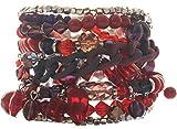 Behave Rotes breites Armband für Frauen mit verschiedenen Anhängern und Perlen - Frauen Armband breit