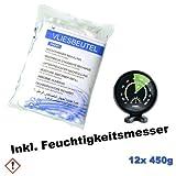 12 x Luftentfeuchter Granulat 450g Raumentfeuchter Nachfüllpack im Vliesbeutel, inkl. Hygrometer