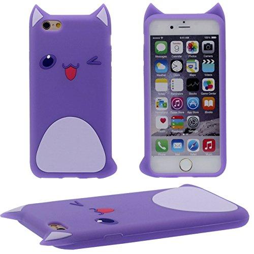 Créatif Mignon Joli Cartoon Style Apparence Très mince Poids léger Souple Silicone Housse Etui de Protection Case pour Apple iPhone 6 / 6S 4.7 inch Style violet