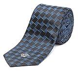 Versace Men's Slim Silk Medusa Tie Geometric Pattern Black Teal