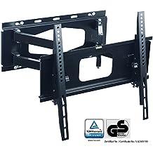XOMAX ® XM-WH102 Staffa supporto parete universale per TV / Plasma / LCD / LED / monitor fino a 45 kg + Allungabile, girevole, inclinabile, orientabile + 32-55 pollici + Standard VESA: 400x400, 400x200, 200x200, 200x100, 100x100 + Distanza da muro 12-52 cm + Robusta (acciaio/metallo) + Ideale per tutte le marche TV + Materiale di montaggio incluso