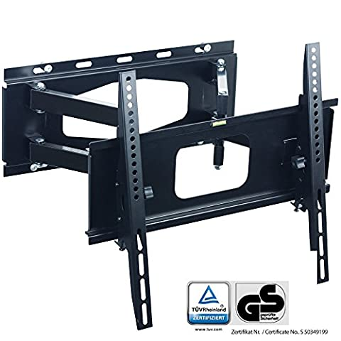 XOMAX XM-WH102 TV Wall Mount Bracket for LCD LED PLASMA up to 55'' inch (139,7cm) + VESA 100x100, 200x100, 200x200, 400x200, 400x400 + Distance to wall: 12-52cm + Super Strong Steel + swiveable + rotating + tiltable 15° + telescopicable + Max weight 65 kg + Easy assembly