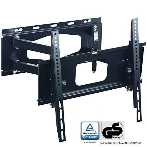 XOMAX XM-WH102 TV Wandhalterung I TÜV/GS geprüft I Doppelarm Wandhalter für Plasma LCD LED TFT Fernseher + VESA Standard 100x100-400x400 I 32-55 Zoll I integrierte Wasserwaage