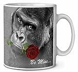 'be mine' Gorilla with Red rose caffè/tè tazza regalo ID