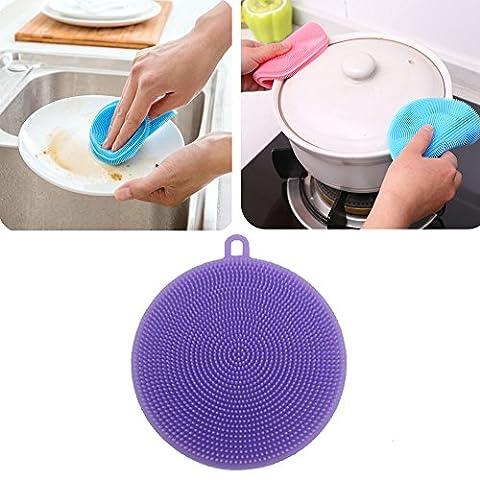 Katech 2pièces en silicone de brosse de lavage multifonction de cuisine Légumes et fruits éponge de nettoyage résistant à la chaleur Mat Pad plaque Plat ou pot Outil de nettoyage
