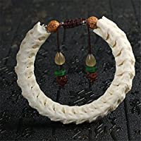 ZY Decor White Snake Bone Bracelet Wrist Mala Ring Hand Chain Brown Rope - Home Car Office Handbag Decoration Prayer Beads Buddhist Meditation Yoga Men Women Gift Box,L