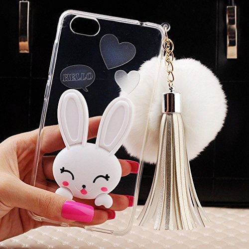Pacyer® Custodia iPhone 6 Plus/6S Plus TPU Case 3D Coniglio Hairball Protettivo Skin Shell con Foldable Bunny Ear Cover Per Apple iPhone 6 Plus/6S Plus (5,5) White