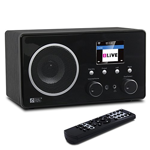 Ocean Digital Internet Radio WR282CD Bluetooth con DAB / DAB + / FM e WiFi WLAN Wireless legno Desktop Player di musica 2.4 'LCD Display a colori - in legno
